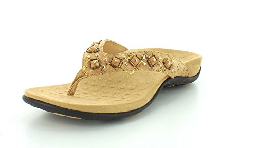 Vionic Women's Rest Floriana Toepost Sandal - Ladies Flip Flops with Concealed Orthotic Support Gold Cork 9 M US