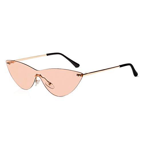LumiSyne Gafas de sol para Mujer Ojos de gato Retro Gafas Lente Siamés Transparente Marco de Metal Sin Montura Moda Fiesta Vintage Gafas de Fiesta protección UV Caja de regalo(Marrón claro)