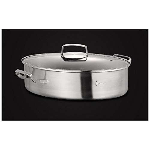 Vaporiera a più strati, in acciaio inox 304 lucidato, pentola per pesce spessa, ovale, 38 cm