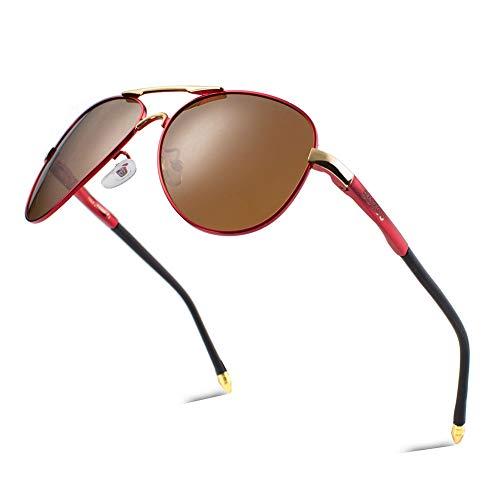 BOYOU Retro Vintage Polarisierte Sonnenbrille Pilotenbrille mit Federscharnier für Herren und Damen UV400 Gläser - Rot