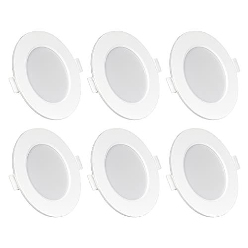 LED Einbaustrahler flach 230V IP44 6W LED Spots Warmweiß/Neutralweiß/Kaltweiß 6er Set Einbauleuchten LED Einbauspots 26mm Deckenspots 3000K/4000K/6000K Auswählbar, für Badezimmer Wohnzimmer