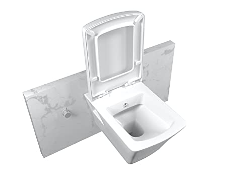 Lucco Inodoro de ducha Loop | Rectangular Taharat WC 53 cm | Incluye asiento de inodoro extraíble de cierre suave | WC con función bidé | Diseño moderno colgante de cerámica | Color blanco