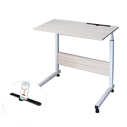Mesa de ordenador portátil con ruedas lateral ajustable para ordenador portátil, bandeja lateral para cama o sofá 80 x 40 cm bandeja de comida escritorio