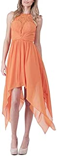 Bariano - Lace Neck Asymmetric Dress (BXD19 - Orange Size 6)