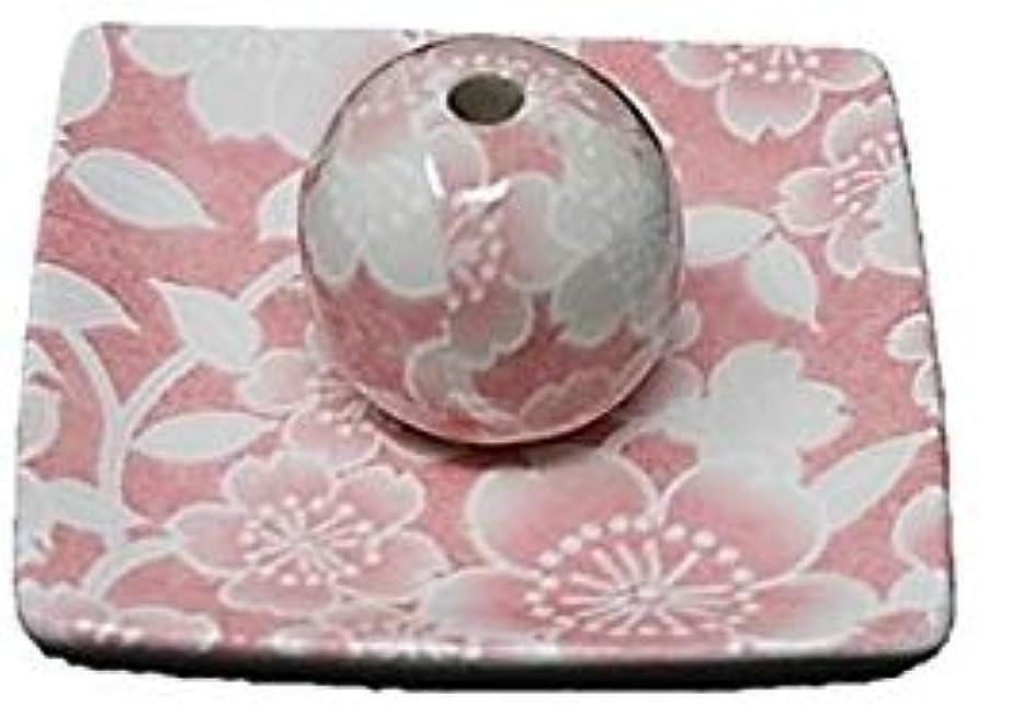 桜友禅 ピンク 小角皿 お香立て 陶器 ACSWEBSHOPオリジナル