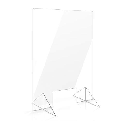 Apalis Spuckschutz Plexiglas Aufsteller 90cm x 60cm x 3mm mit Durchreiche Tischaufsatz glasklar