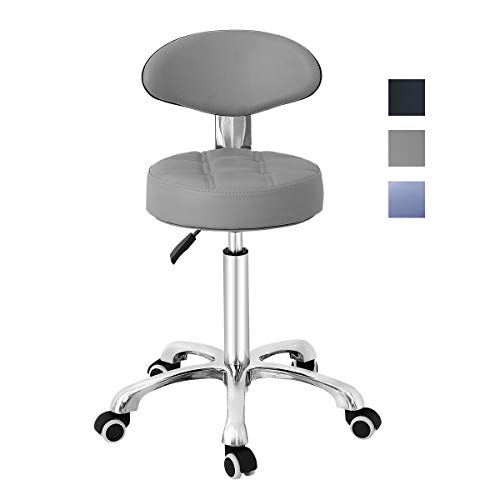 Grace & Grace Pneumatic Height Adjustable Rolling Swivel Stool with Comfortable Seat Heavy Duty Metal Base for Salon, Massage, Shop and Kitchen (Grey)