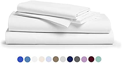Comfy Sheets 100% Egyptian Cotton Sheets- 1000 Thread Count 4 Pc Queen Sheets Cotton White Bed Sheet with Pillowcases, Hotel Quality Fits Mattress Up to 18'' Deep Pocket.