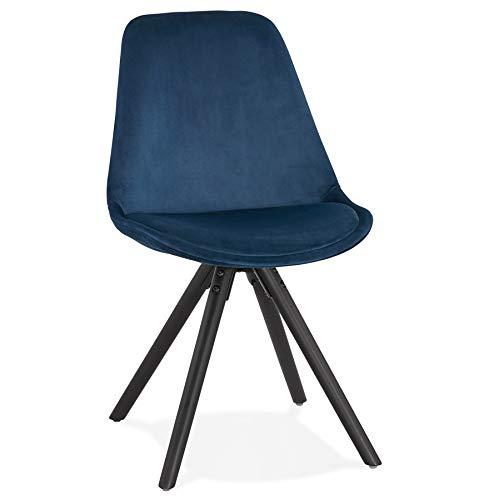 Silla de diseño de comedor Black Firenza en terciopelo azul, patas de madera, color negro tintado