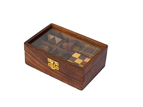Wood Art Store 6-in-One Wooden Puzzle Games Set 3D Puzzles for Teens and Adults (6 Puzzle Set)