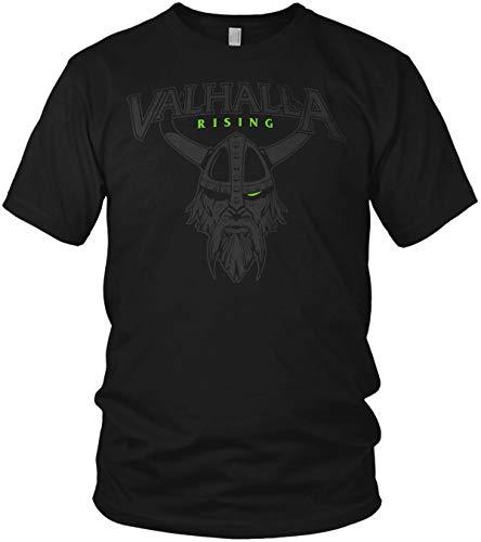 North - Valhalla Rising Wikinger Odin Krieger mit Helm Walhalla Vikings Nordmann - Herren T-Shirt und Männer Tshirt, Größe:XL, Farbe:Schwarz/Grün