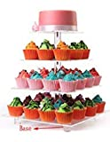 LoveDisplay 4 Tiers Clear Maypole Square Acrylic Cupcake Stand Cake Pastry Dessert Tree To...