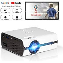 """DOACE P3 HD 1080P Video Projector with Portable Screen 100"""" for Indoor Outdoor Use, Home Theater Projector Support USB SD Card VGA AV for Home Cinema TV Laptop Game Smartphone (White)"""