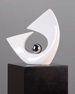 Mel O Design Hermosa Escultura Balance Bola Hecho De Cerámica con plata Bola Altura 28 cm Ancho 27 cm