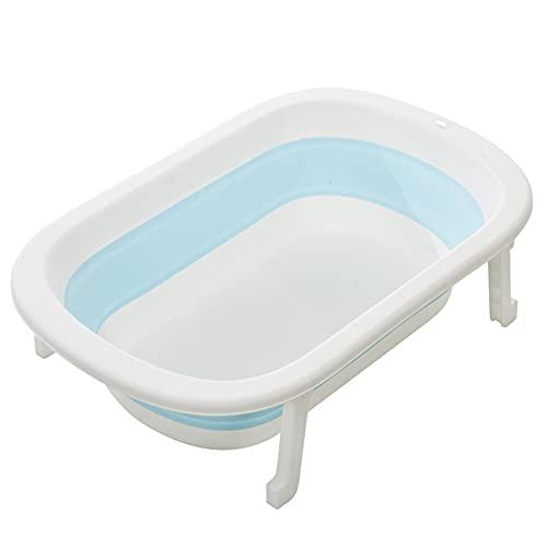 RNNTK Tragbar Komfortabel Babybadewanne Ergonomischer,Zum Baby Neugeborenen Kleinkinder Faltbare Badewanne Anti-rutsch,Platzsparend Hochkompakt Baby Bad Duschwanne-Blau