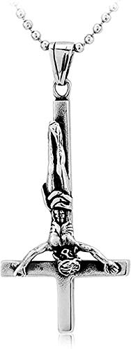 CCXXYANG Co.,ltd Collar Collar con Colgante De Cruz Invertida Chapado En Oro De Estilo Religioso Clásico Joyería Informal De Metal Punk para Hombre