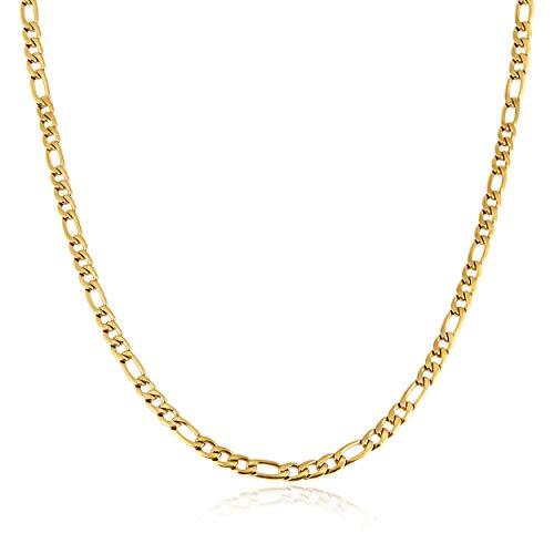 HZMAN Herren Damen 24 K echt vergoldet Figarokette Edelstahl Halskette breit 5 mm 7 mm 9 mm 13 mm, Gold-Edelstahl, Breite: 7 mm, gold, XL7907B7-20