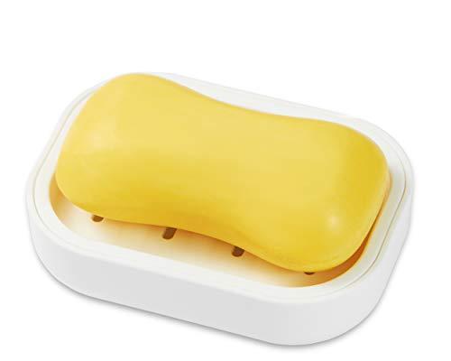 SZDUDU Kunststoff in Lebensmittelqualität Seifenkiste, Seife trocken halten, leicht zu reinigen, Starke Drainagefähigkeit(Weiß)
