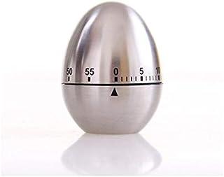 Jayron JR-WG015 - Temporizador de cocina con forma de huevo de acero inoxidable, alarma mecánica giratoria de 60 minutos, temporizador para cocinar