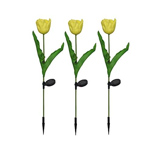 JJH Luces solares Luz Decorativa de la Noche, Flores Artificiales Tulipanes Luminosos, iluminación de césped Impermeable al Aire Libre inalámbrico (Color : Yellow, tamaño : 3-Piece Set)