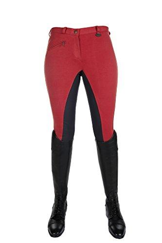 HKM Vollbesatz Reithose Wülfer X mit elastischen Beinabschluss für Damen, rot mit grauen Besatz, Größe: 38