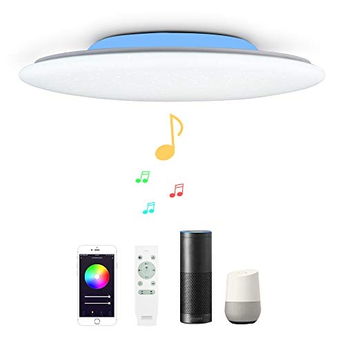 48W Φ50cm Estrellado Plafón Led Lampara Techo Led Compatible Con WIFI Amazon Alexa Google Assinstant y Con Bluetooth Altavoz y Mando Luz Musica Regulable Cambia De Color Para Dormitorio Salon