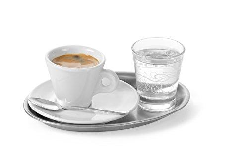 HENDI Serviertablett, Tablett, Kaffeetablett, oval, Geschirrspülmaschinengeeignet, 200x140mm, Satiniert