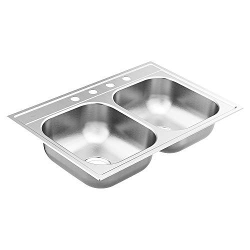 Moen GS222164 2200 Series 33-inch 22 Gauge Drop-in Double Bowl Stainless Steel Kitchen Sink, 4 Hole