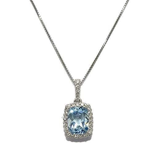 Colgante con diamantes en oro blanco de 18k con 1 topacio azul de 8×9 que pesa 2.74cts y 29 diamantes talla brillante de 0.25cts con cadena veneciana de 40cm todo oro de 18k. Ideal mujer, novias.