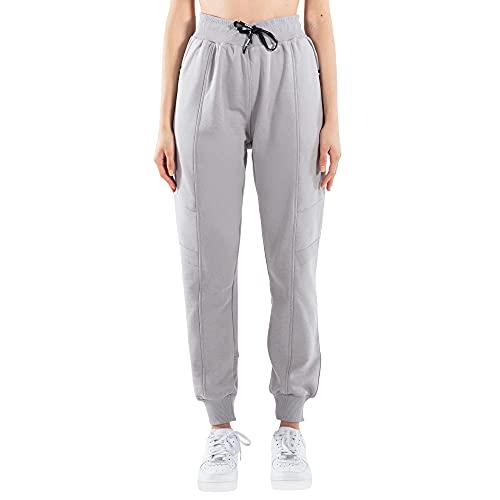 SMILODOX Damen Jogginghose Livia - Lange Hose im Loose fit mit high Waist Bund und Tunnelzug, Größe:S, Color:Grau