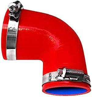 TOYOKING ホースバンド付き ハイテク シリコンホース エルボ 90度 異径 内径Φ51-Φ76 赤色 ロゴマーク無し インタークーラー ターボ インテーク ラジェーター ライン パイピング 接続ホース 汎用品