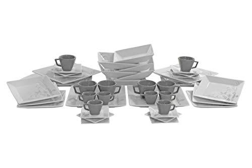 Aparelho Jogo de Jantar Chá e Café Oxford Mail Order Quartier Tattoo 42 Peças Cinza e Branco