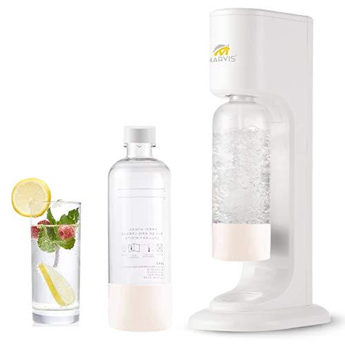 Máquina de soda carbonatador para agua potable, agua soda con 2 botellas de 1 L sin BPA, color blanco