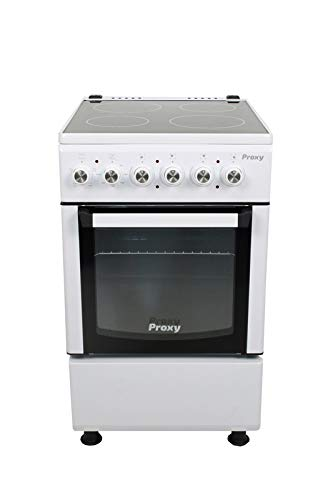 Cocina vitrocerámica 50 cm de ancho con horno eléctrico PROXY, color blanco, 4 zonas vitro y horno eléctrico 4 funciones.