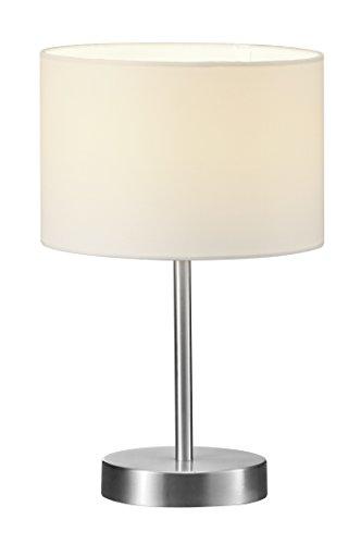lightling modern Tischleuchte in nickel matt, Stoffschirm weiß, 1 x E14 max. 40W, ø 20 cm, Höhe: 32 cm