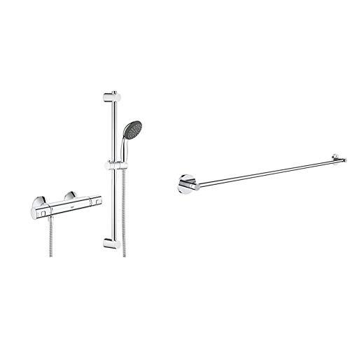Grohe Vitalio Start - Sistema de ducha con termostato, teleducha y barra de ducha, acabado cromado (Ref. 34597000) + Grohe Essentials - Toallero, color cromo (Ref.40386001)