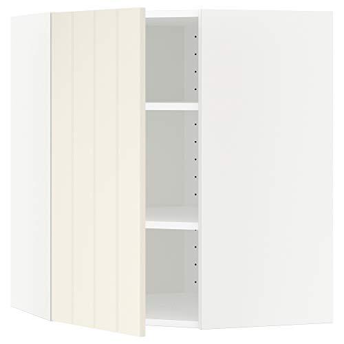 METOD armario esquinero de pared con estantes 67,5 x 67,5 x 80 cm blanco/Hittarp blanco roto