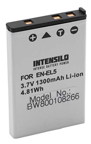INTENSILO Li-Ion batería 1300mAh (3.7V) para cámara videocámara Nikon CoolPix P80, P90,...