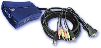 Justcom USB KVM Switch with and OFFicial site High quality new Cables Built-in Audio