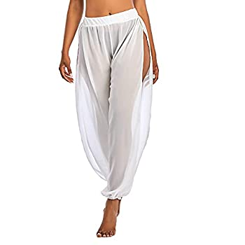 American Trends Women Cover Ups for Swimwear High Waist Sheer Mesh Pants Beach Swimsuit Bikini Bottom Cover up Pant Side Split White X-Large