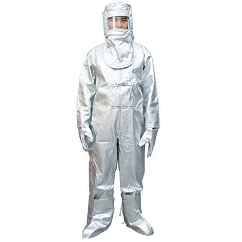 XIONGG Chimica Indumenti Protettivi, 500 ° Isolamento Abbigliamento Anti-Radiazioni Scottatura, con Cappuccio di Protezione Generale Sicurezza sul Lavoro,XXL