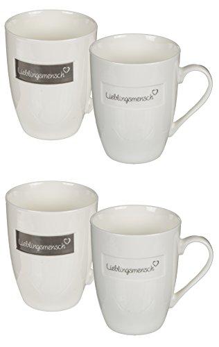 Bada Bing 4er Set Lieblingsmensch Tassen Becher Kaffeetasse grau Creme Trend