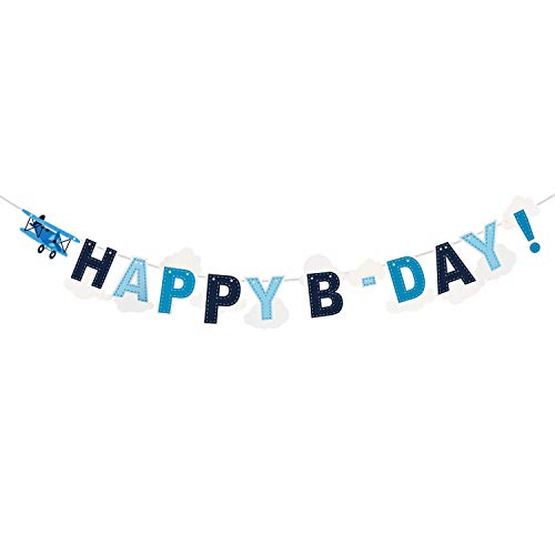 Airplane Happy B-Day Banner, Airplane Theme 1st Birthday Party Decoration Travel Theme Kids Birthday Party Bunting, Boy's Birthday Party Decoration Supplies, Airplane Party Favor