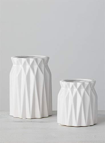 Sullivans Ceramic Origami Glossy White Short Vase Set of 2 - Decor for Any Desktop, Office Space, Home (CM2863) Maine