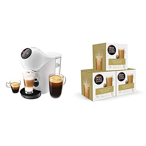 Krups Genio S Basic KP2401 - Cafetera blanca de cápsulas + Nescafé DOLCE GUSTO CAFÉ CON LECHE DELICATO - Pack De 3 x 16 cápsulas - Total: 48 Cápsulas