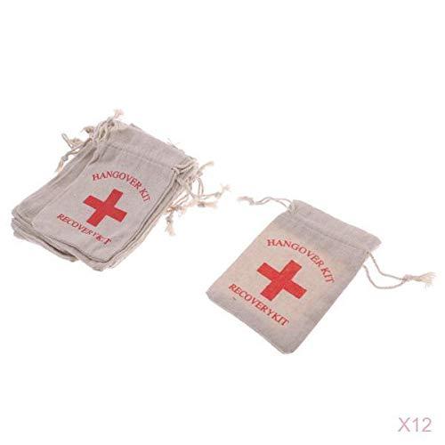 LOVIVER 120pcs Hangover Kit Taschen 4''x5 '' Bachelorette Party Red Cross Taschen Baumwolle Survival Kit Tasche Für Bräute Geschenke Taschen Weekend Welcome