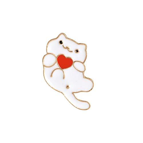 HSQSC Broschen Anstecknadeln Cartoon Katze Kätzchen Emaille Pin Brosche Cd Herz Brille Wink Katze Schwarz Weiß Revers Pin Coat Abzeichen Mode