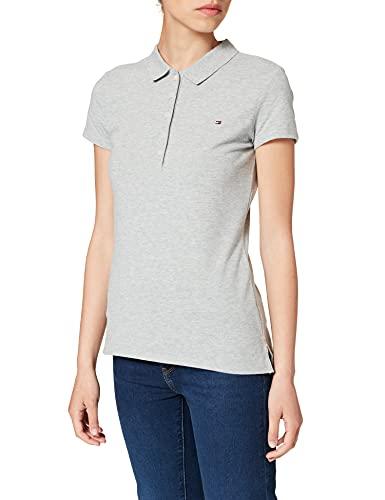 Tommy Hilfiger Short Sleeve Slim Polo Camiseta sin Mangas para bebés y niños pequeños, Gris, XXS para Mujer