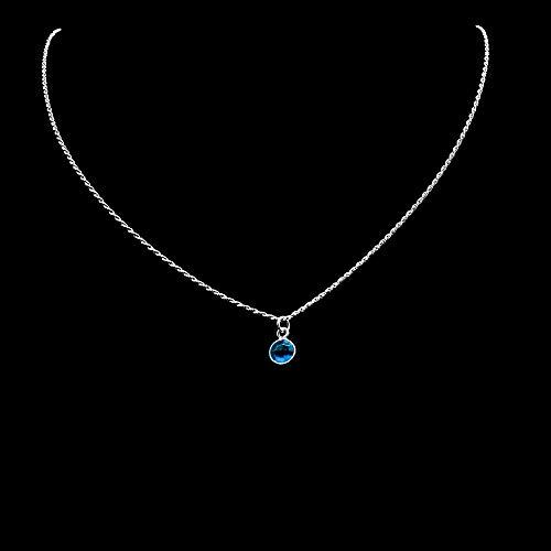 Diamond-Cut Kette Halskette 1,2 mm mit Anhänger London Blautopas 925 Sterling Silber Damen Halskette
