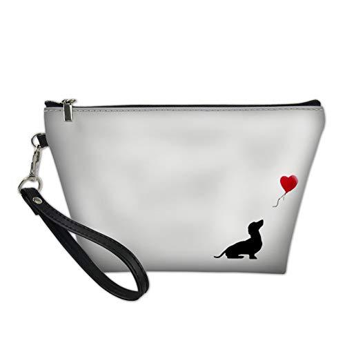 HUGS IDEA - Trousse da donna in pelle PU, stampa con animali Bianco Bassotto small